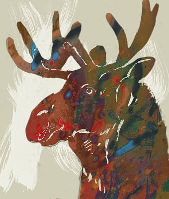 Moose Drawing - Moose - Wild Animal Stylised Pop Art Drawing Portrait Poster by Kim Wang