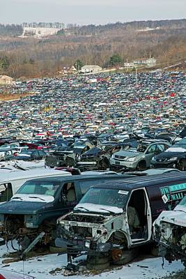 Scrap Metal Yard Photograph - Motor Vehicles At A Scrapyard by Jim West