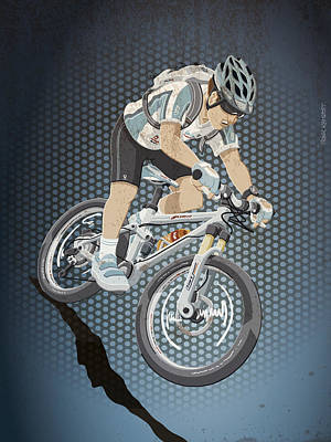 Mountainbike Sports Action Grunge Color Print by Frank Ramspott