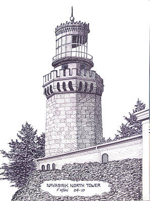Pen And Ink Drawing - Navasink North Tower by Frederic Kohli