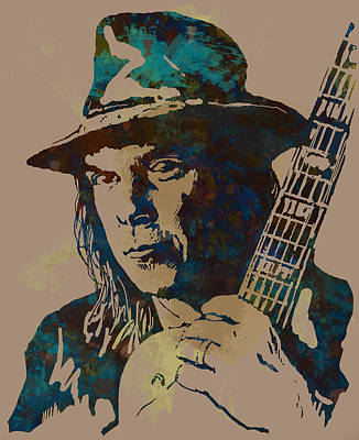 Stylized Mixed Media - Neil Young Pop Artsketch Portrait Poster by Kim Wang