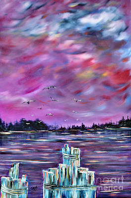 Pylon Painting - Neuse River Gulls North Carolina by Janice Rae Pariza