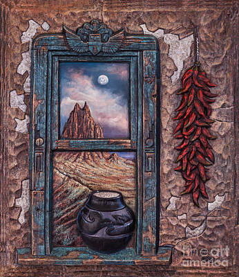 Textured Landscapes Mixed Media - New Mexico Window by Ricardo Chavez-Mendez