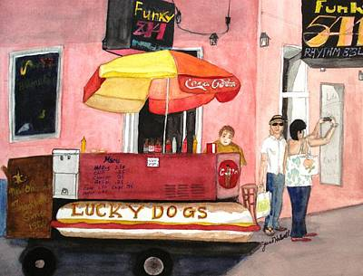 Lucky Dogs Painting - New Orleans Lucky Dogs by June Holwell