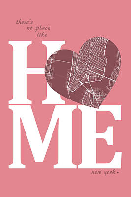 Heart Digital Art - New York Map Home Heart - New York City New Yorkroad Map In A He by Jurq Studio