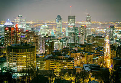 Montreal Cityscapes Photograph - Night Lights Of Montreal by Mountain Dreams