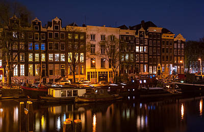 Night Lights On The Amsterdam Canals 7. Holland Print by Jenny Rainbow