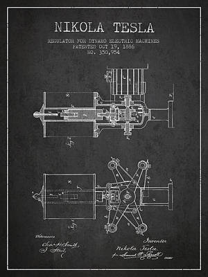 Dynamos Drawing - Nikola Tesla Patent Drawing From 1886 - Dark by Aged Pixel