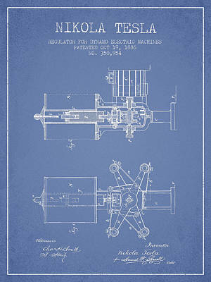 Dynamos Drawing - Nikola Tesla Patent Drawing From 1886 - Light Blue by Aged Pixel
