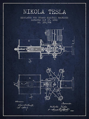 Dynamos Drawing - Nikola Tesla Patent Drawing From 1886 - Navy Blue by Aged Pixel