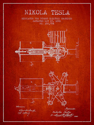 Dynamos Drawing - Nikola Tesla Patent Drawing From 1886 - Red by Aged Pixel