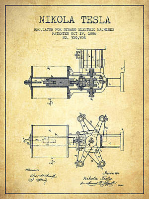 Dynamos Drawing - Nikola Tesla Patent Drawing From 1886 - Vintage by Aged Pixel