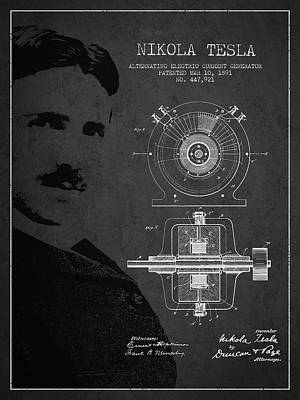 Electricity Drawing - Nikola Tesla Patent From 1891 by Aged Pixel