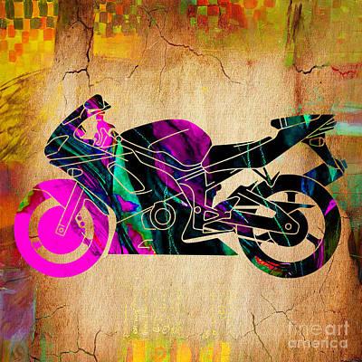 Ninja Motorcycle Painting Print by Marvin Blaine