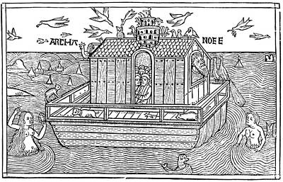 1493 Photograph - Noahs Ark With Merfolk, 1493 by Photo Researchers