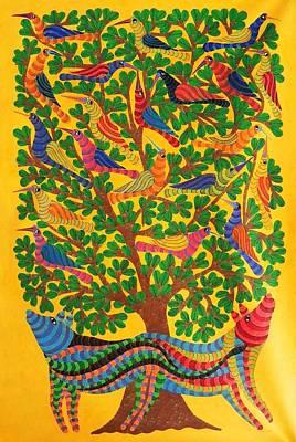 Gond Art Gallery Painting - Npt 52 by Narmada Prasad Tekam