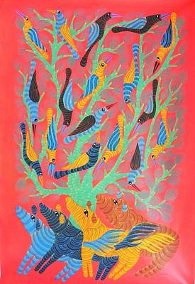 Gond Art Gallery Painting - Npt 54 by Narmada Prasad Tekam
