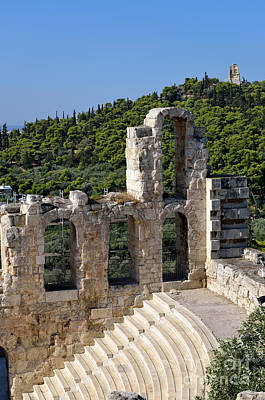 Theatre Photograph - Odeon Of Herodes Atticus And Hill Of Philopappos by George Atsametakis