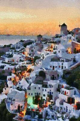 Sea Painting - Oia Town During Sunset by George Atsametakis