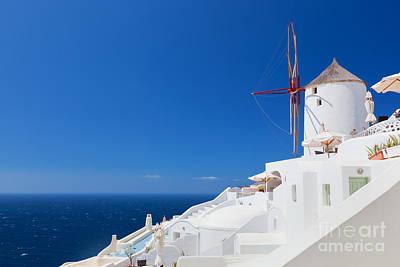 Sea Photograph - Oia Town On Santorini Island Greece by Michal Bednarek