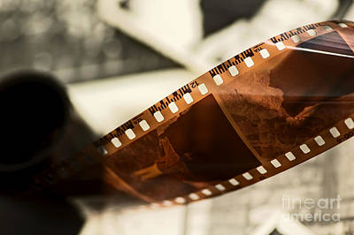 Cinema Photograph - Old Film Strip And Photos Background by Michal Bednarek