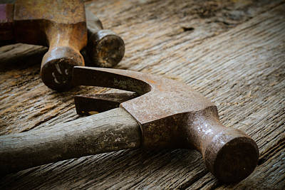 Old Hammers On Rustic Wood Background Print by Brandon Bourdages