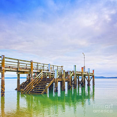 Old Jetty With Steps Maraetai Beach Auckland New Zealand Print by Colin and Linda McKie