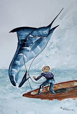 Old Man Fishing Painting - Old Man And The Sea by Barbara McMahon