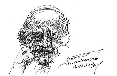 Sketch Drawing - Old Man by Ylli Haruni