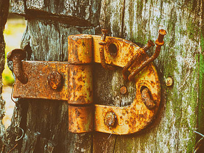 Old Rusty Gate Hinge Print by Mountain Dreams