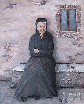 Old Woman Painting - Old Woman Waiting by Judy Kirouac