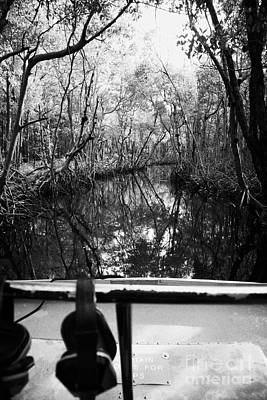 On Board An Airboat Ride Through A Mangrove Jungle In Everglades City Florida Everglades Print by Joe Fox