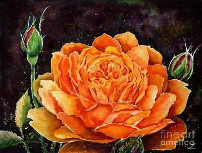 Orange Rose Print by Zaira Dzhaubaeva