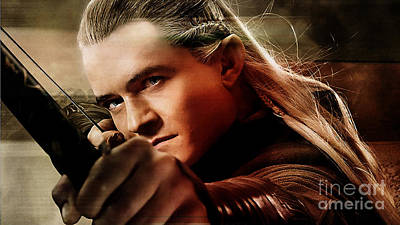 Orlando Bloom Print by Marvin Blaine