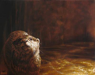 Otter Curiosity Original by Cara Bevan