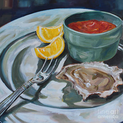 Kristine Painting - Oyster Appetizer by Kristine Kainer