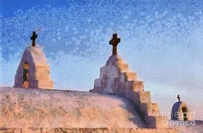 Crosses Painting - Panagia Paraportiani Church In Mykonos Island by George Atsametakis
