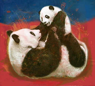 Panda Drawing - Panda Mum With Baby - Stylised Drawing Art Poster by Kim Wang