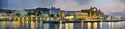 Sea Painting - Panoramic View Of Spetses Town by George Atsametakis