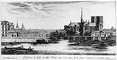 Notre Dame Cathedral Painting - Paris Notre Dame, 1600s by Granger