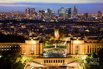 Paris Panorama France At Night Print by Michal Bednarek