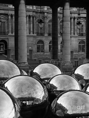 Paris Reflecting Balls In The Palais Royal Gardens Print by Design Remix