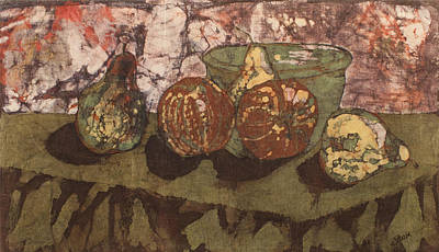 Tapestry - Textile - Pears And Apples Batik by John and Lisa Strazza