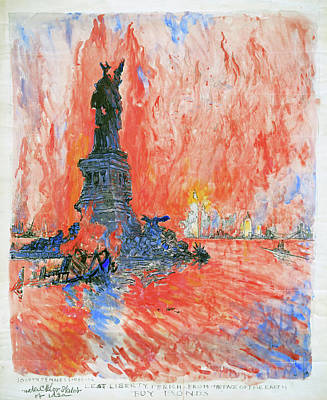 Statue Of Liberty Drawing - Pennell New York City by Granger
