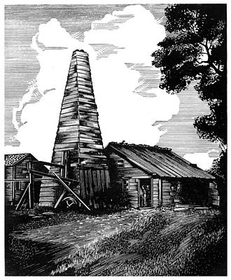 Pennsylvania Drawing - Pennsylvania Oil Well by Granger