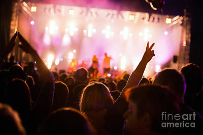 Audience Photograph - People On Music Concert by Michal Bednarek