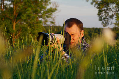 Photographer Looks At Camera Print by Aleksey Tugolukov