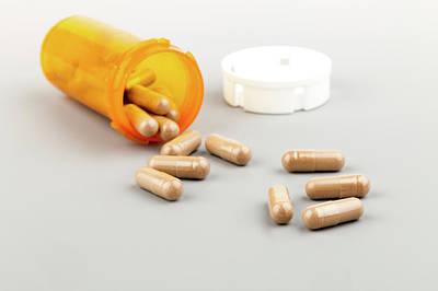 Pills And Pill Bottle Print by Wladimir Bulgar