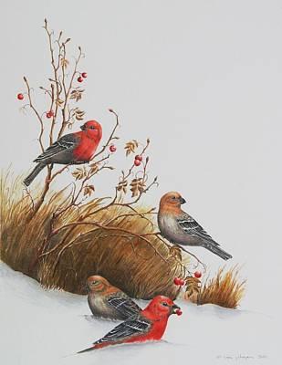 Pine Grosbeaks Print by Gina Gahagan