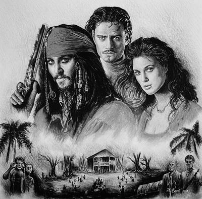Johnny Depp Drawing - Pirates by Andrew Read